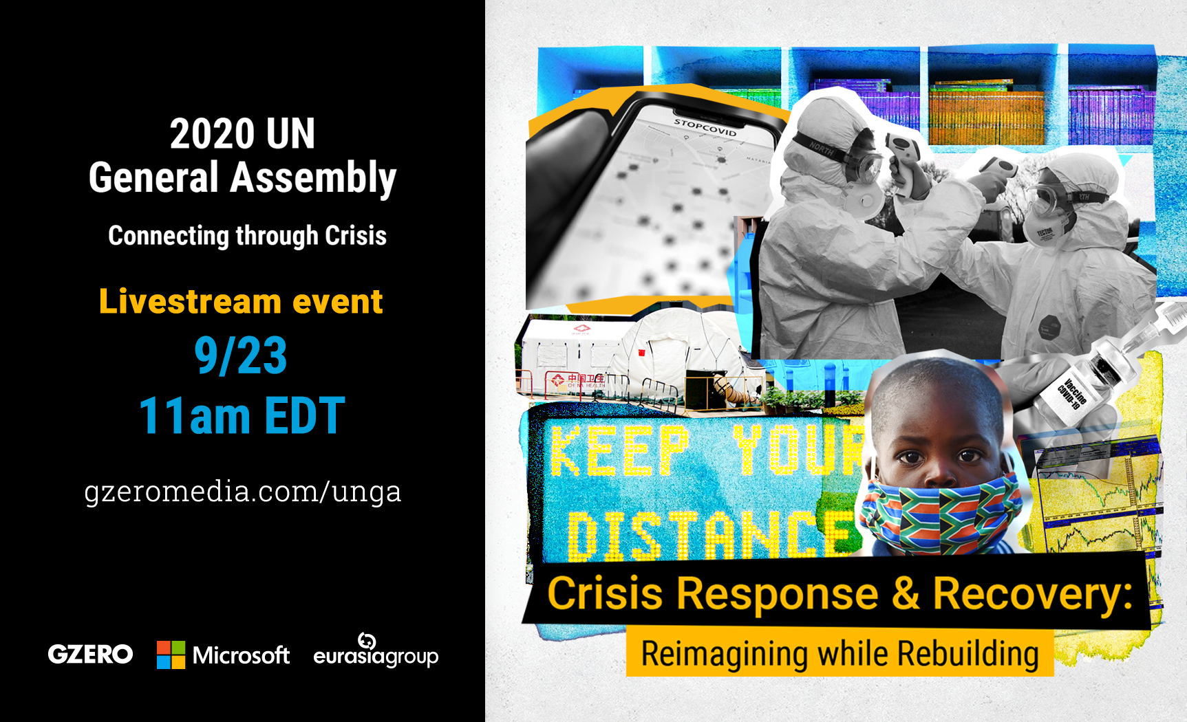 2020 UN General Assembly: Connecting Through Crisis - Livestream event 9-23 11 am EDT. Crisis Response & Recovery: Reimagining while Rebuilding