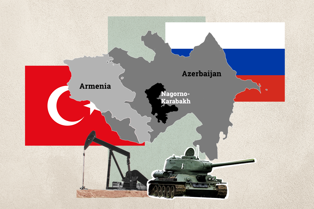 A collage of images and maps referencing the disputed Nagorno-Karabakh region between Armenia and Azerbaijan