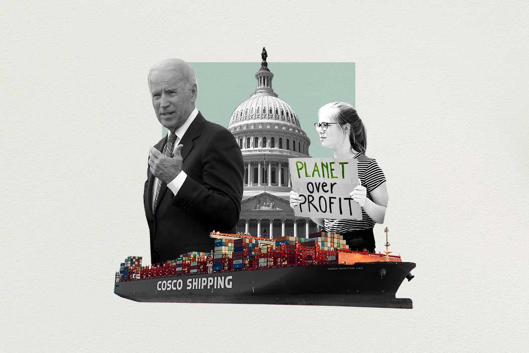 """A collage of overlapping images including presidential candidate Joe Biden,  a cargo ship, the US Congress, and a climate activist holding a sign that reads """"planet over profit"""""""