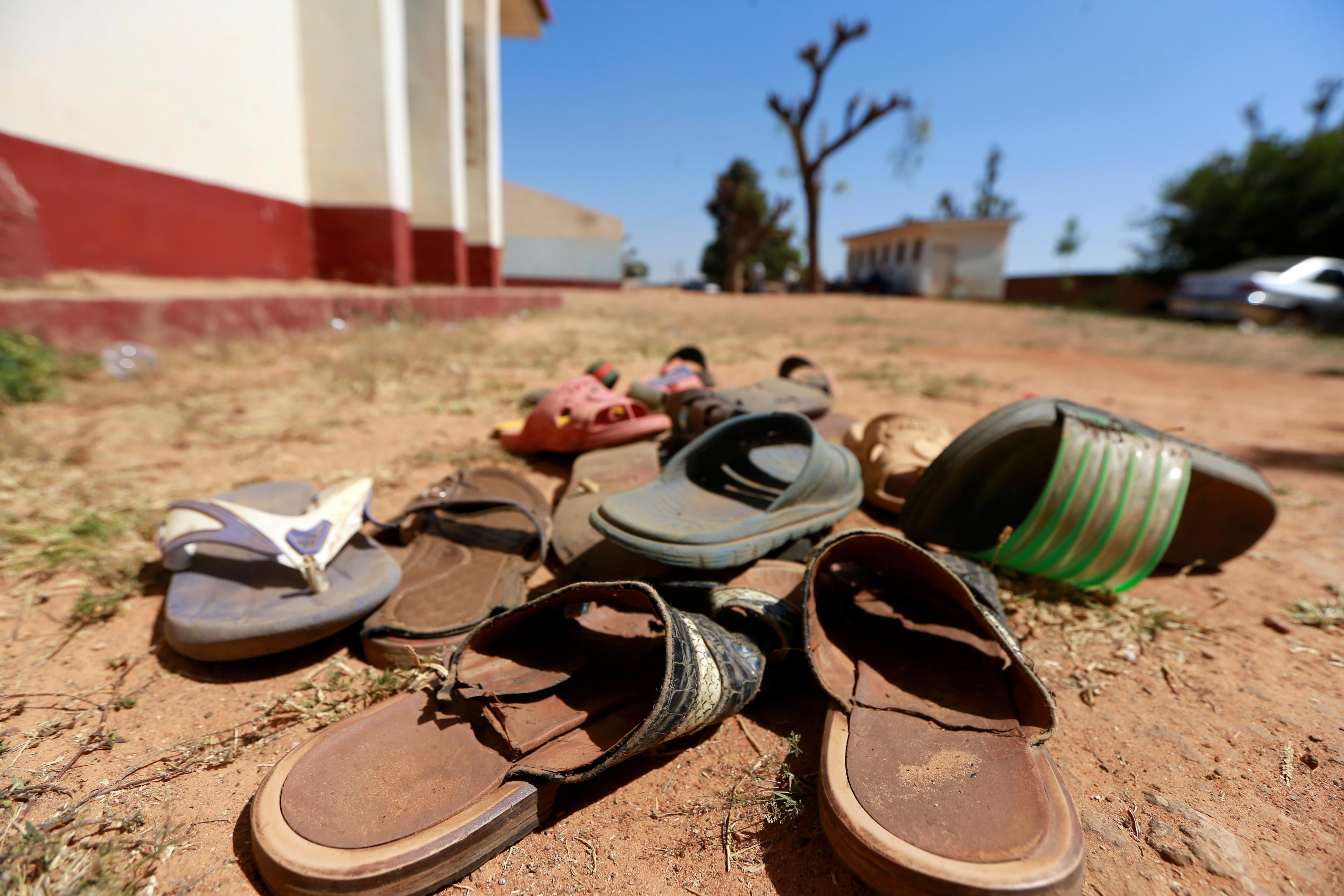 A collection of student footwears left behind after gunmen abducted students at the Government Science school in Kankara, in northwestern Katsina state, Nigeria December 13, 2020.