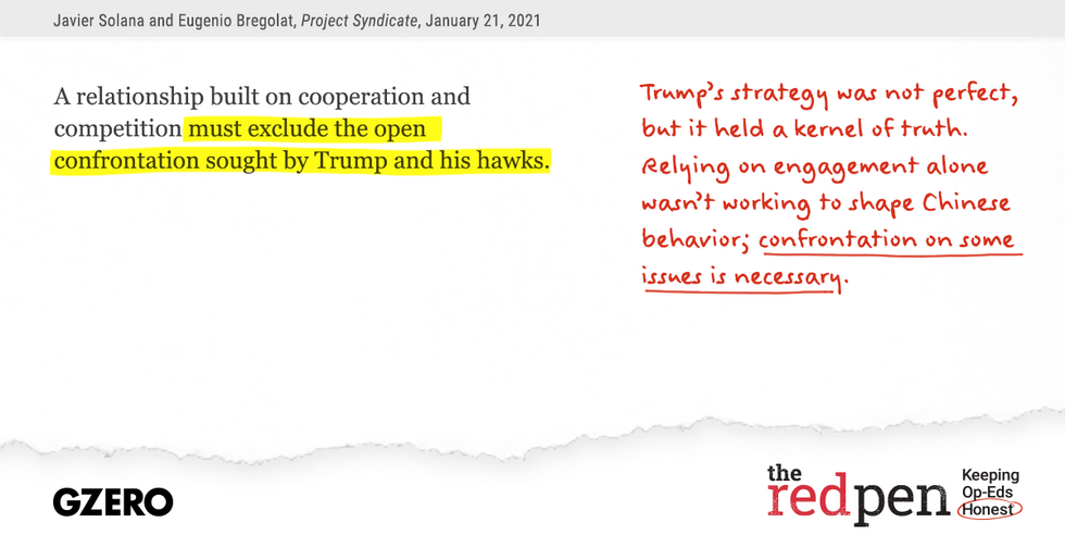 """""""A relationship built on cooperation and competition must exclude the open confrontation sought by Trump and his hawks."""" Trump's strategy was not perfect but it held a kernel of truth."""