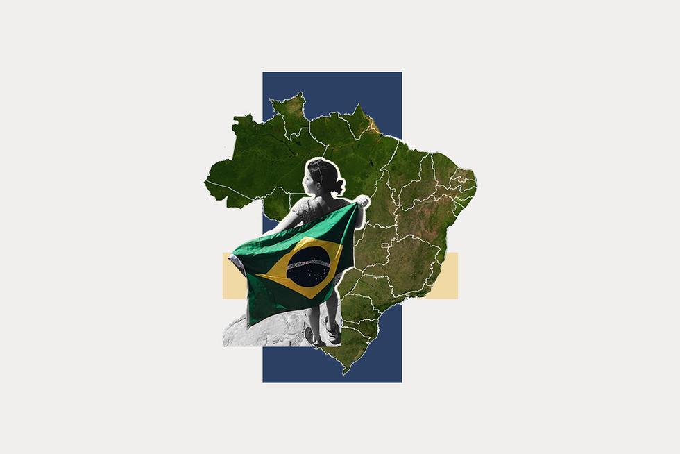 A stylized map of Brazil