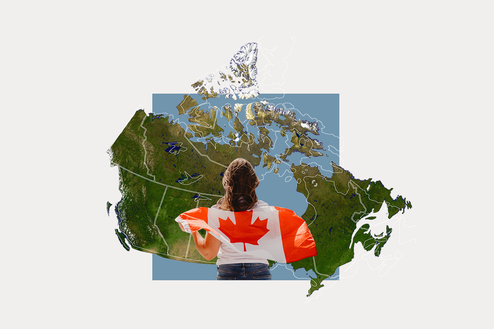 A stylized map of Canada