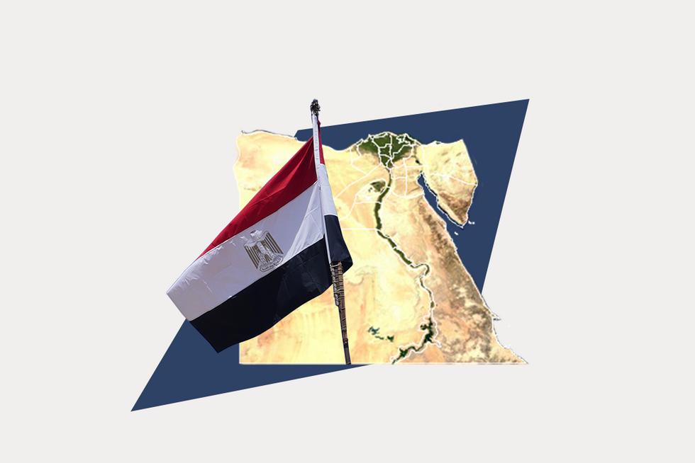 A stylized map of Egypt