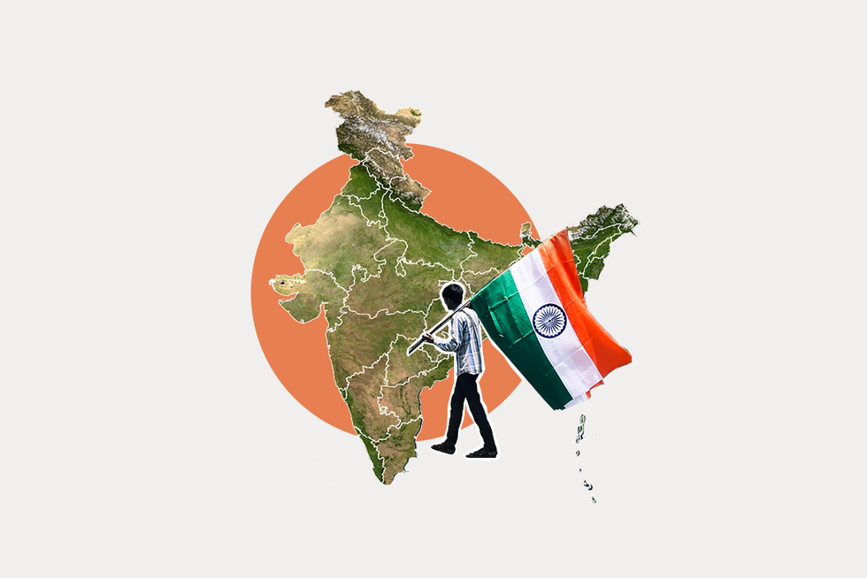 A stylized map of India