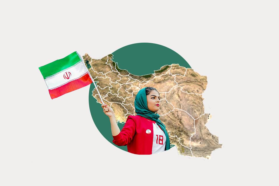 A stylized map of Iran