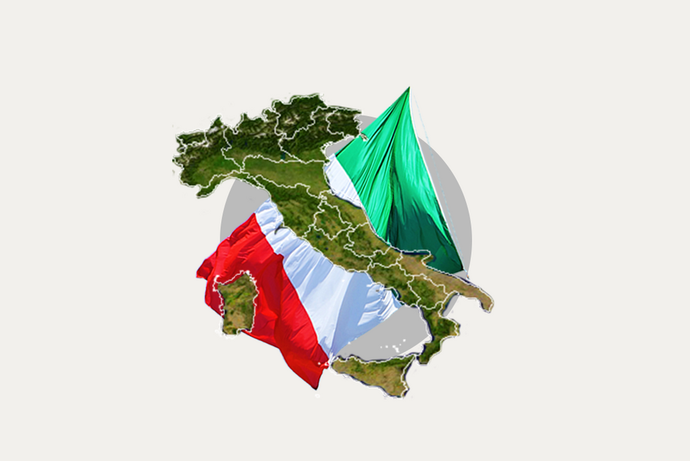 A stylized map of Italy