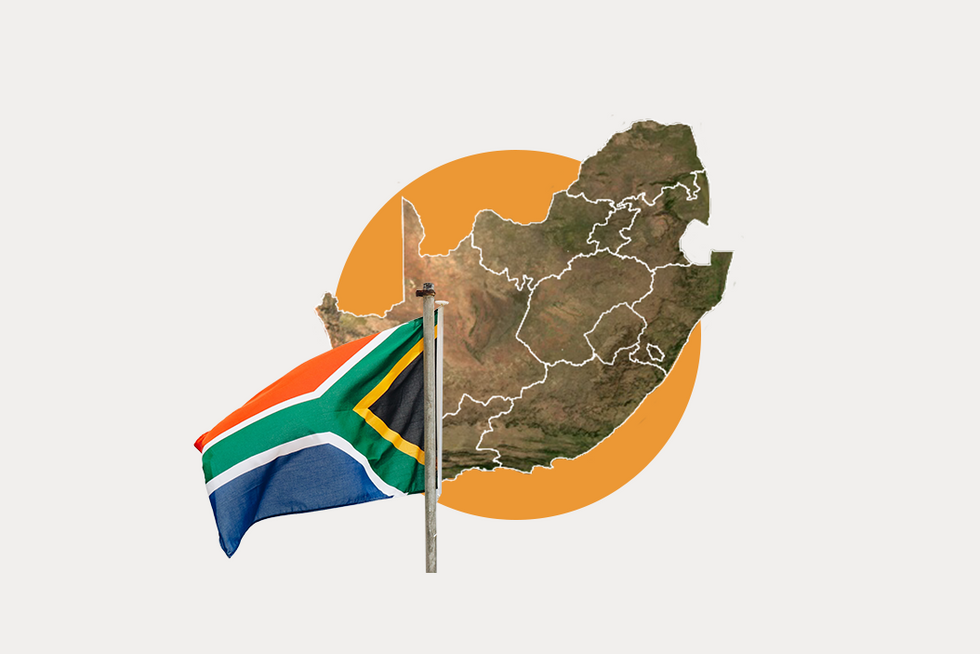 A stylized map of South Africa