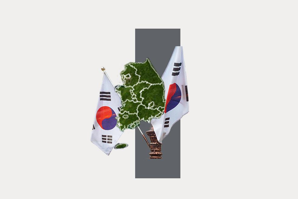 A stylized map of South Korea
