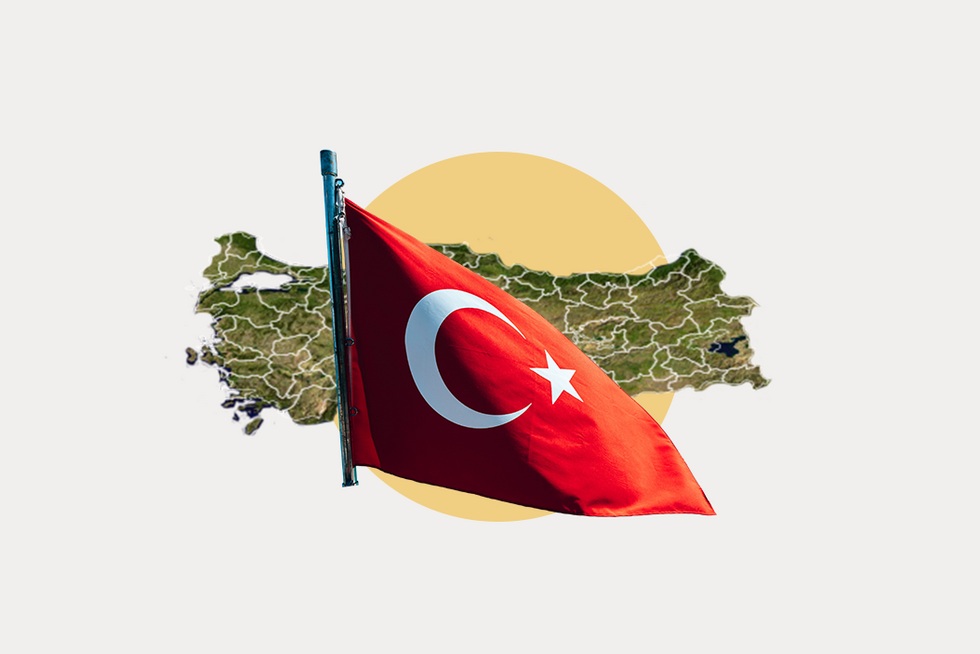A stylized map of Turkey