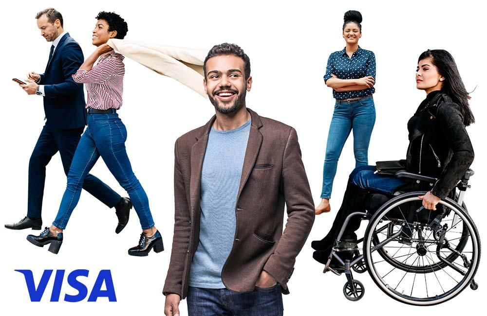 A visa ad with a small, diverse group of people, mostly smiling