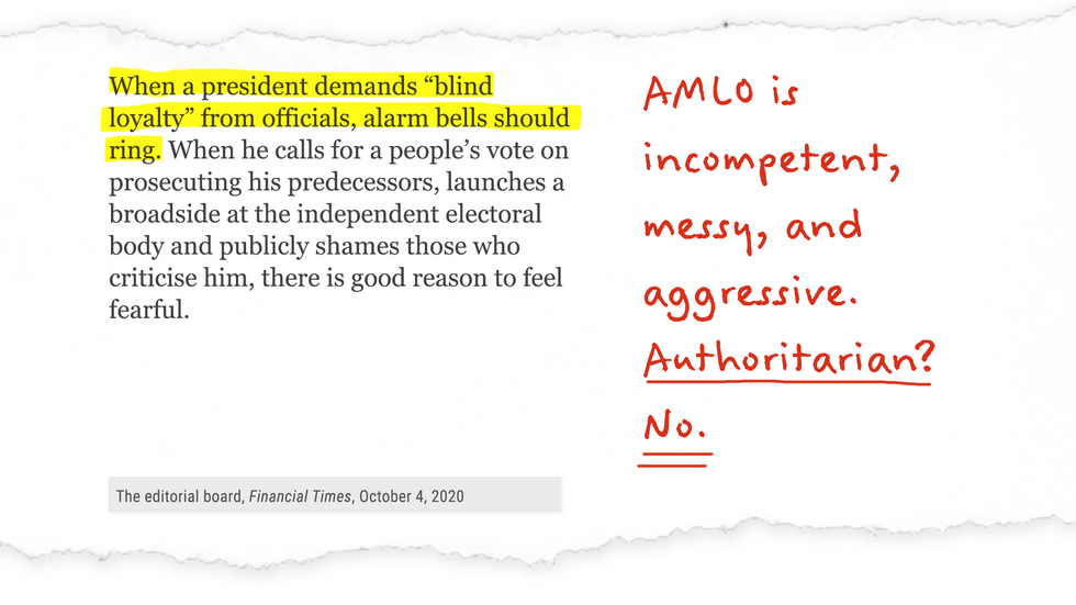 AMLO is incompetent, messy and aggressive. Authoritarian? No.