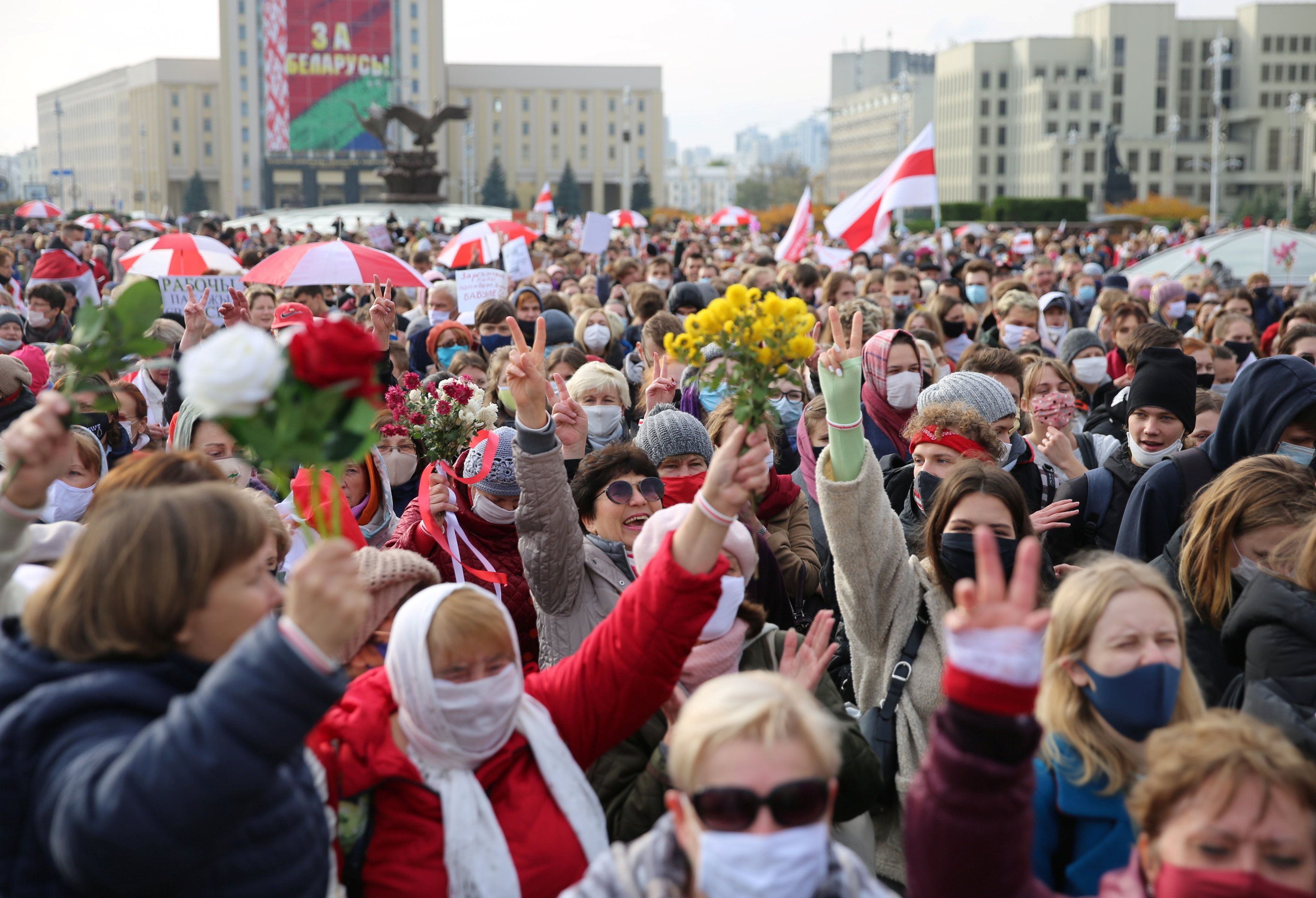 Belarusian opposition supporters hold a rally during a general strike in Minsk. Reuters