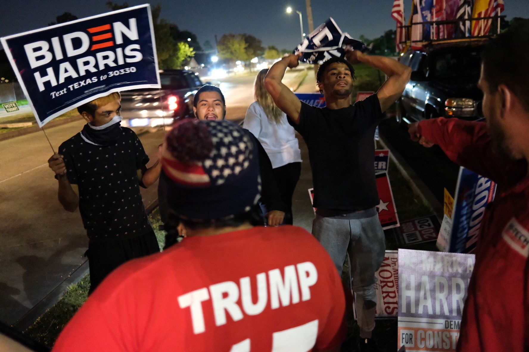 Biden supporters confront Trump loyalists on US election day. Reuters