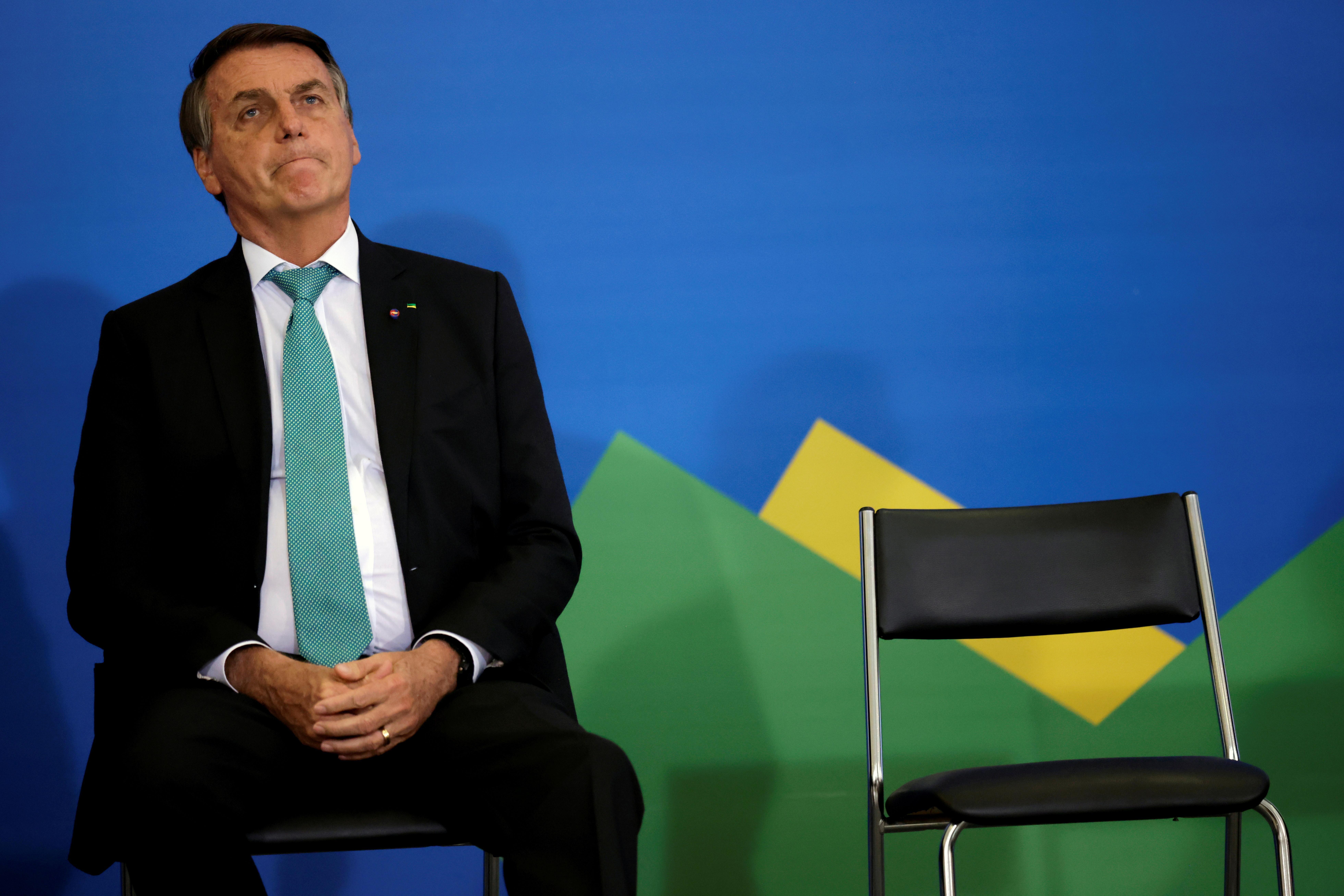 Brazil's President Jair Bolsonaro attends a ceremony to mark 1000 days in government at the Planalto Palace in Brasilia, Brazil September 27, 2021.