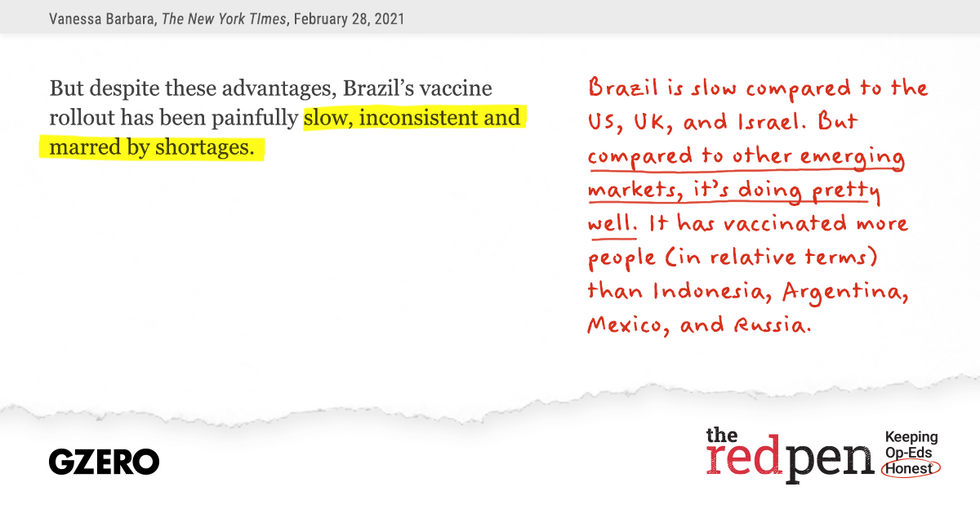 """""""Brazil's vaccine rollout has been painfully slow, inconsistent and marred by shortages.""""  Brazil is slow compared to the US, UK, and Israel,. But compared to other emerging markets, it's doing pretty well."""