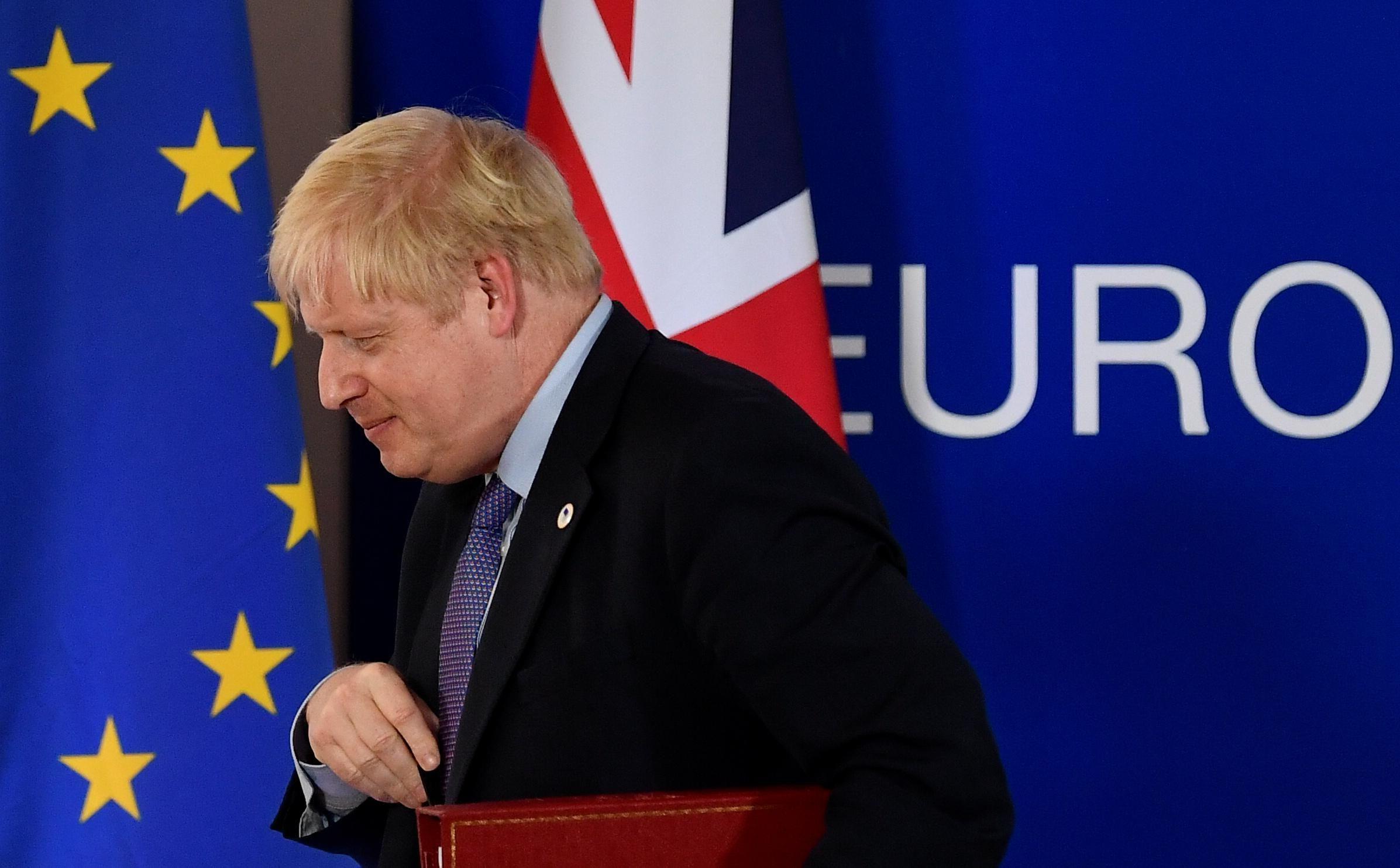 British PM Boris Johnson at an EU Summit in Brussels. Reuters