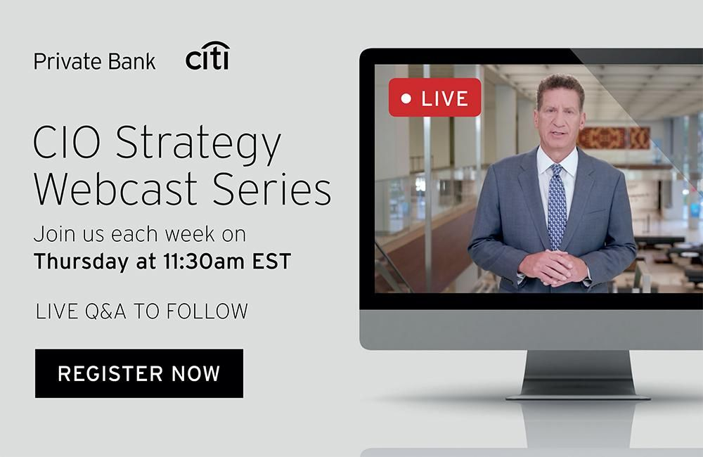 CIO Strategy Webcast Series: Computer screen showing an image of a man wearing a suit with language promoting a webcast series