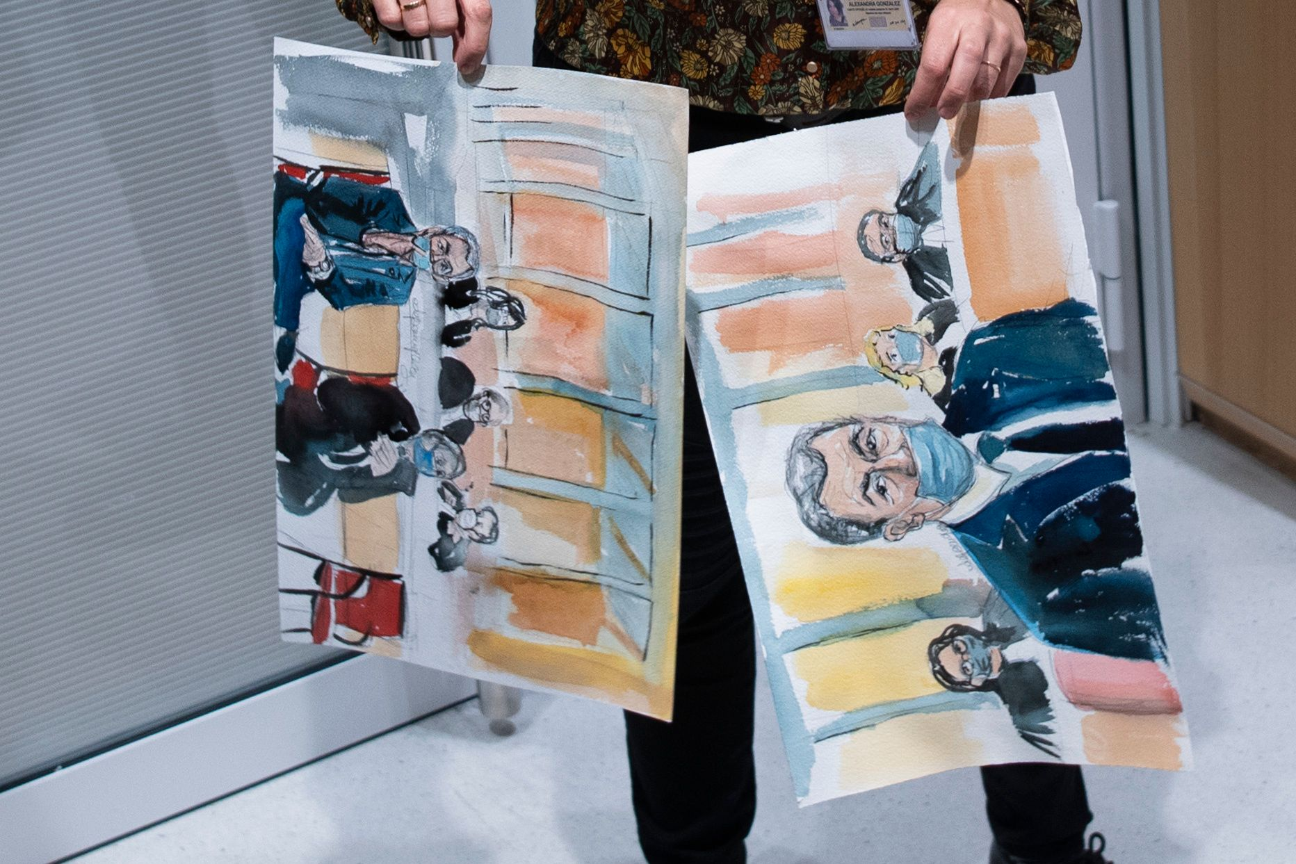 Court drawings of former French president Nicholas Sarkozy and his attorney