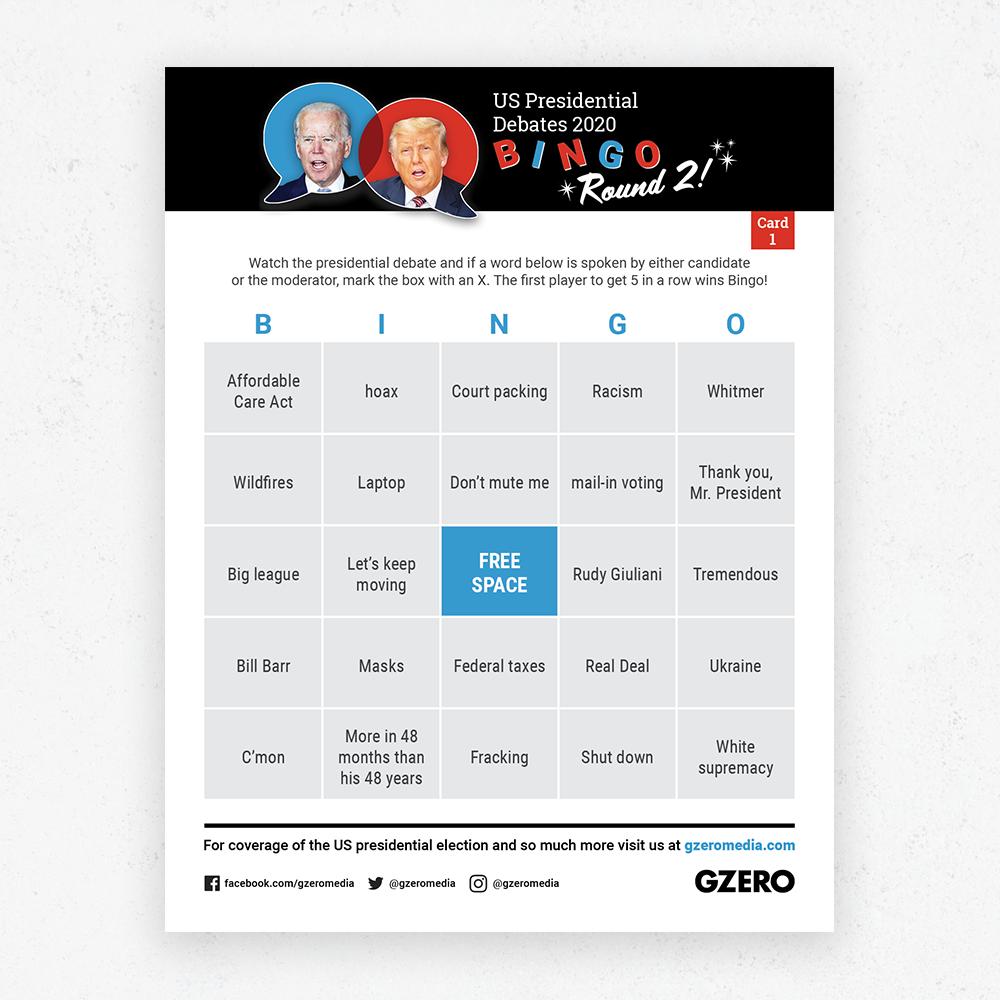 Debate Bingo Round 2 Card 1 - US Presidential Debate 2020