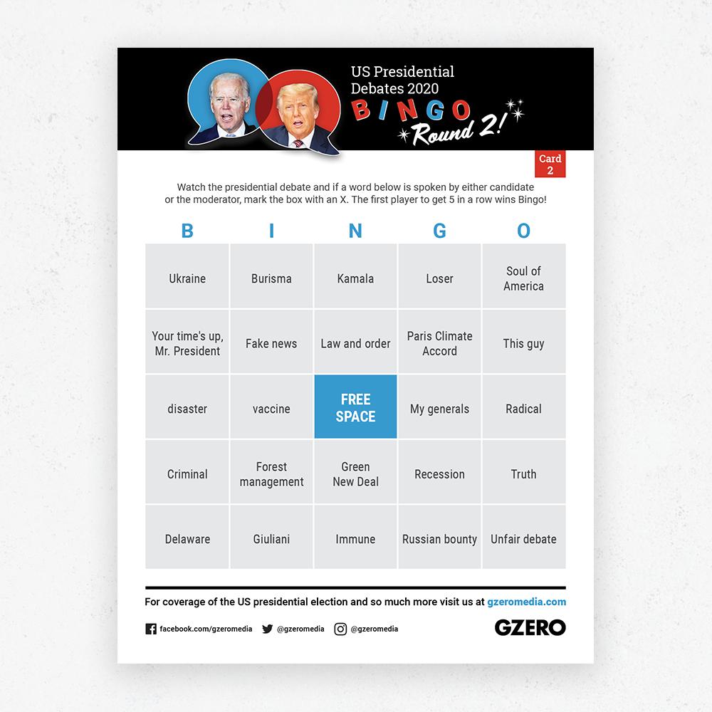 Debate Bingo Round 2 Card 2 - US Presidential Debate 2020