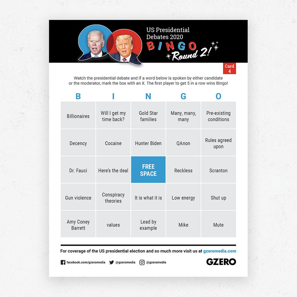 Debate Bingo Round 2 Card 4 - US Presidential Debate 2020