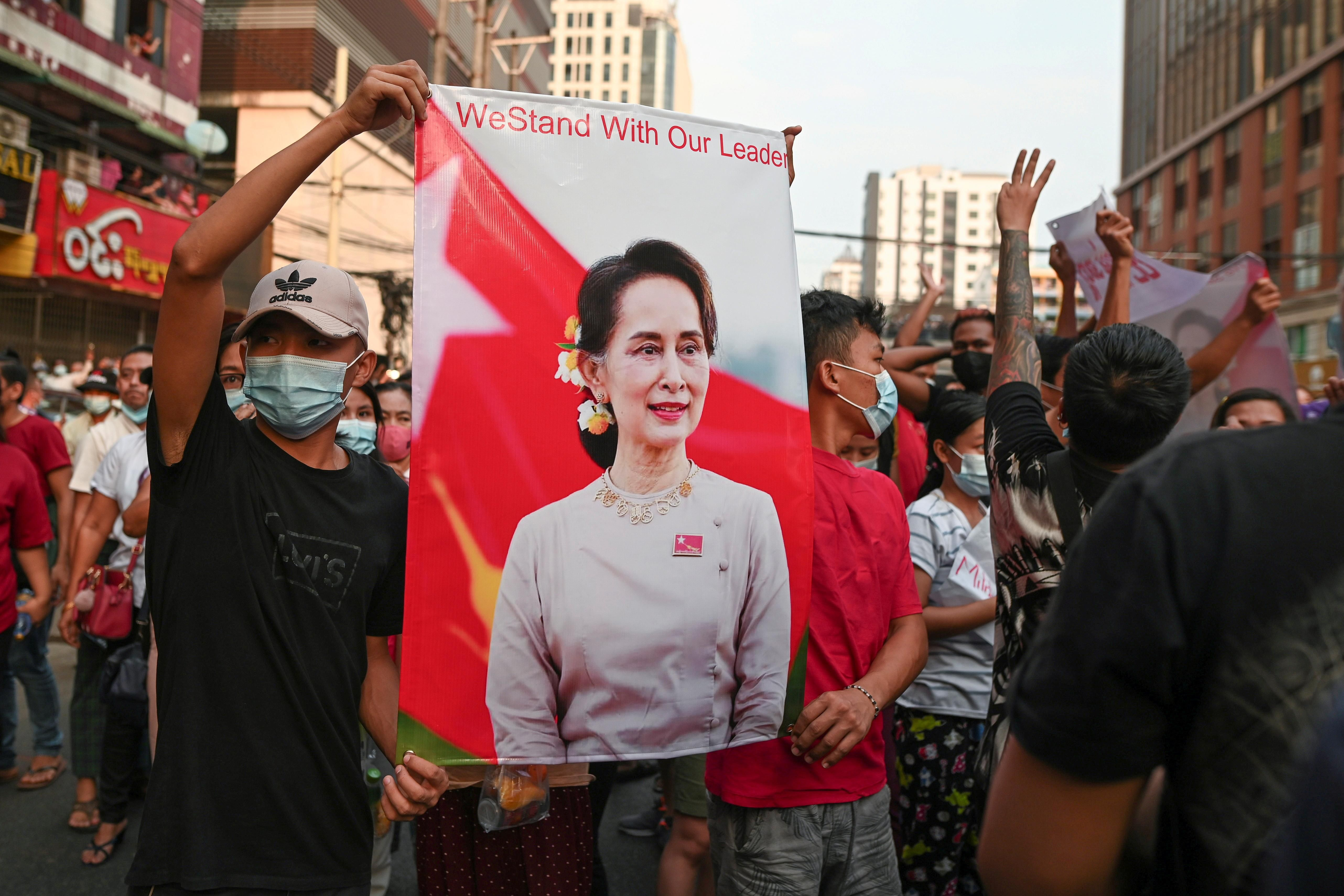 Demonstrators protest against the military coup and demand the release of elected leader Aung San Suu Kyi, in Yangon, Myanmar, February 6, 2021.
