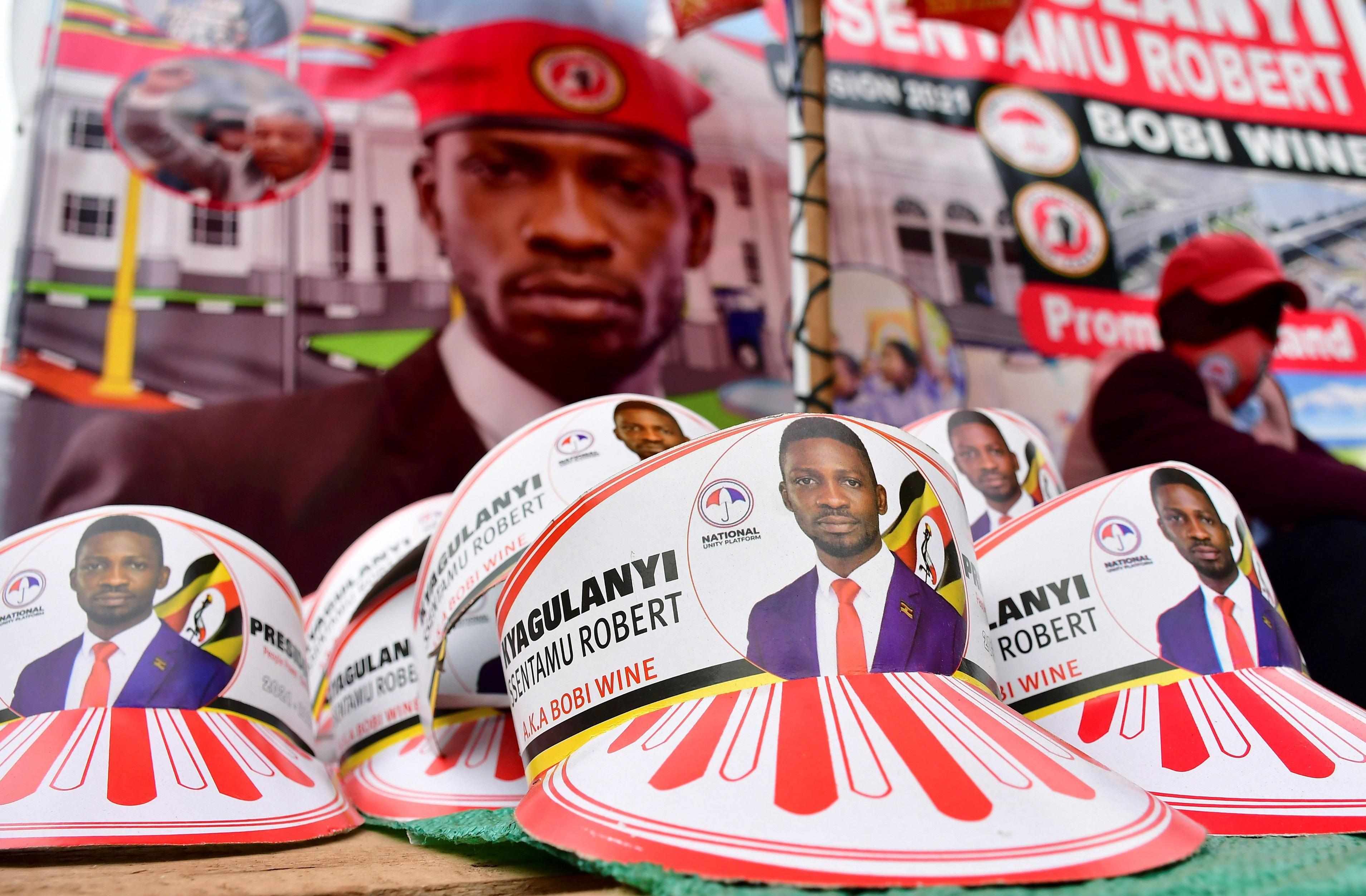 Electoral merchandise of Ugandan opposition presidential candidate Bobi Wine. Reuters