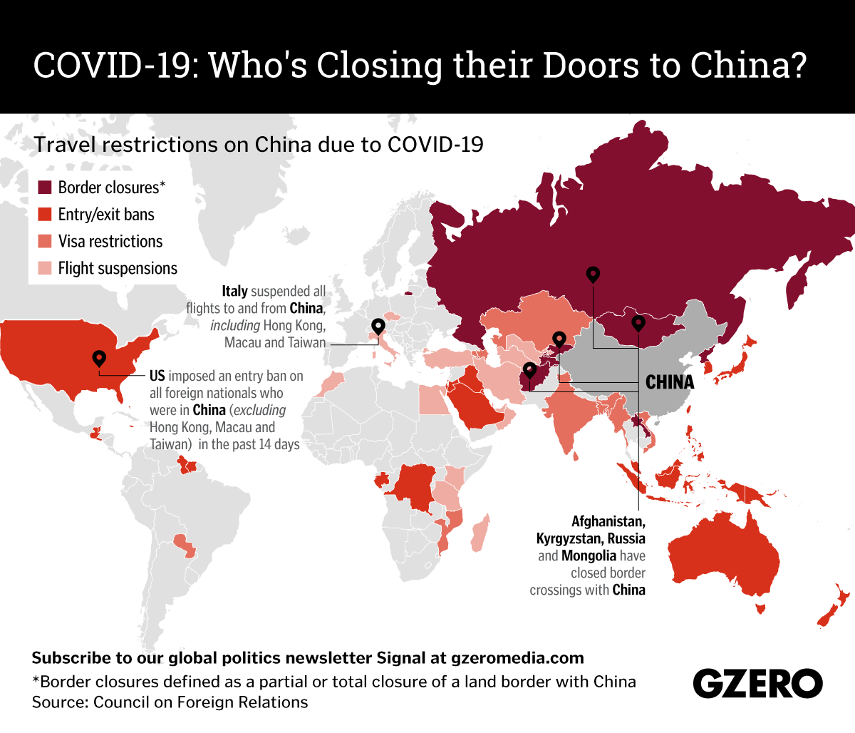 The Graphic Truth: Who's closing their doors to China due to COVID-19?
