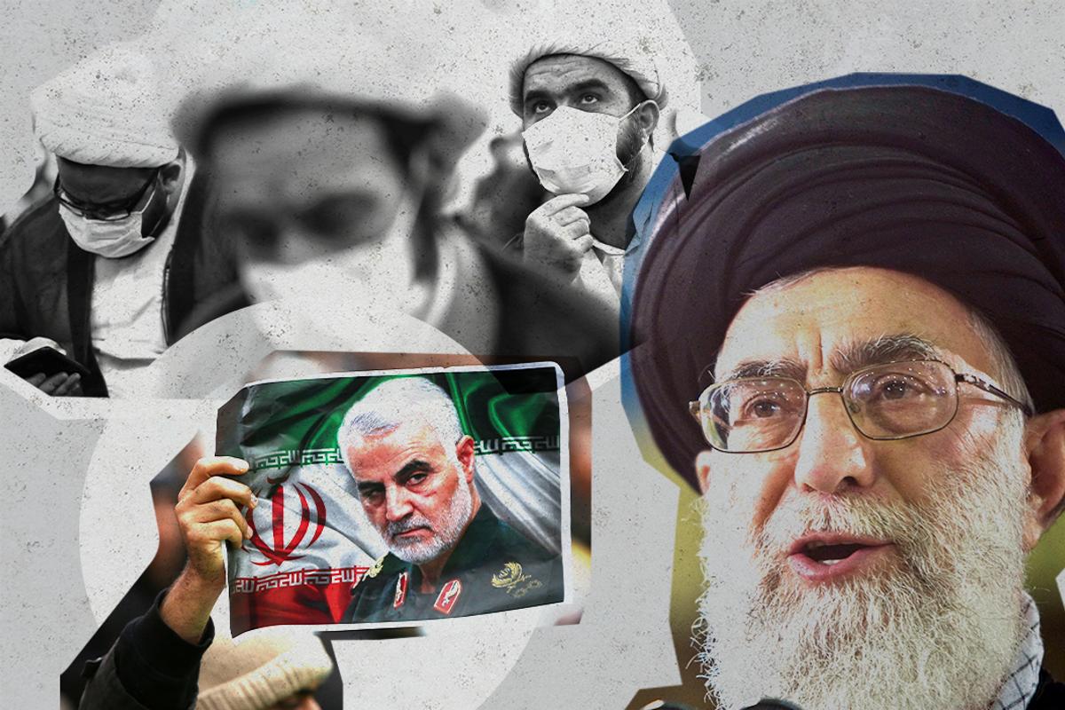 Iranian Supreme Leader Ayatollah Ali Khamenei, Iranians wearing anti-COVID face masks and mourning Qassem Soleimani.