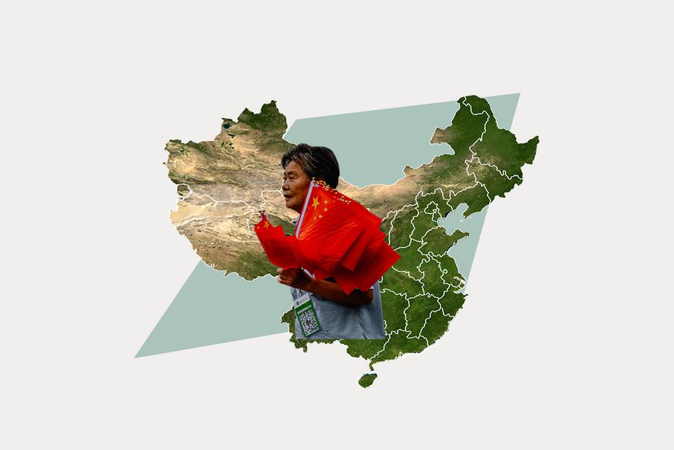 A stylized map of China