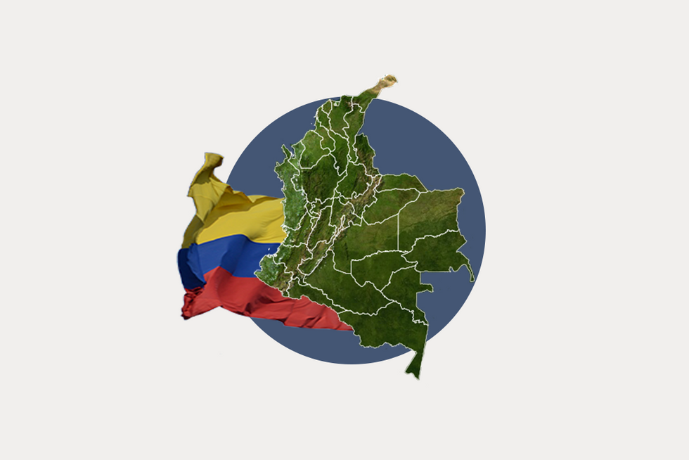 A stylized map of Colombia