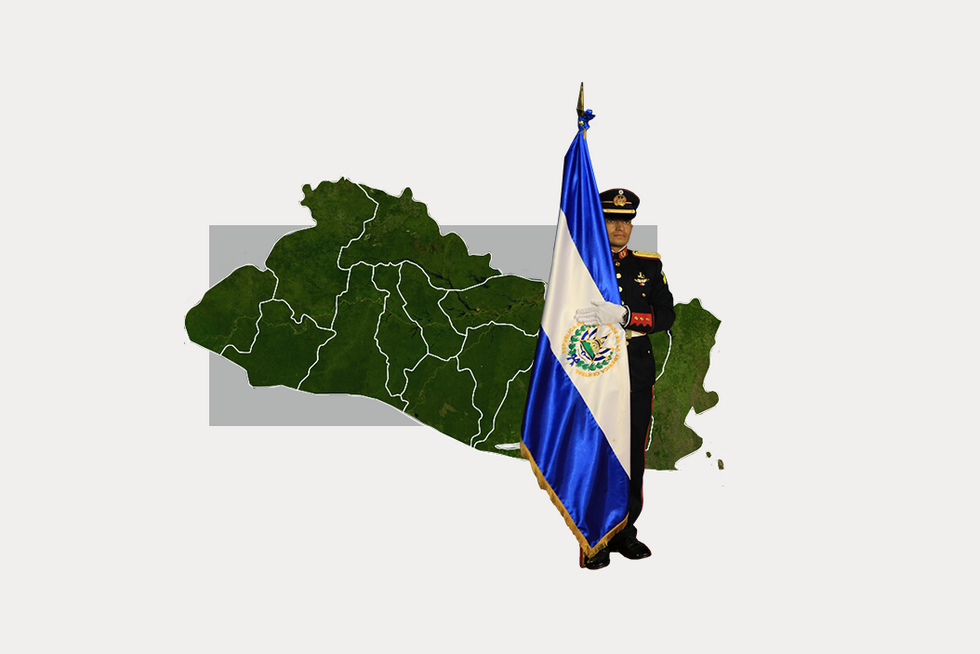 A stylized map of El Salvador