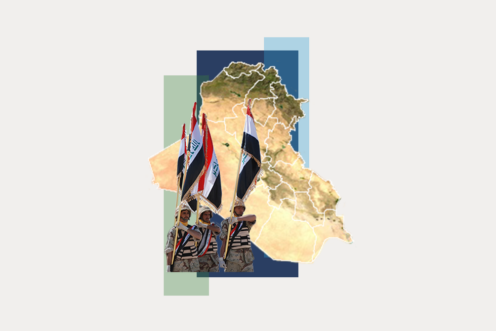 A stylized map of Iraq