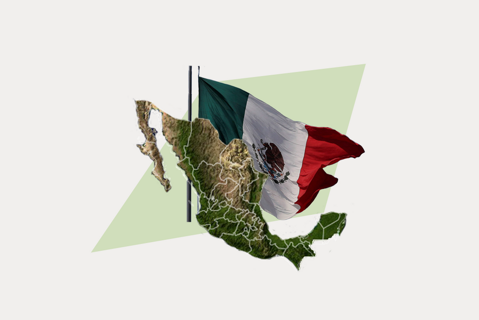 A stylized map of Mexico