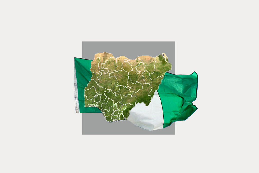 A stylized map of Nigeria