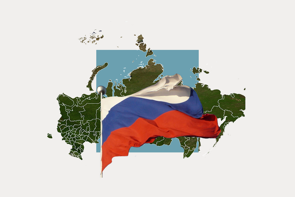 A stylized map of Russia