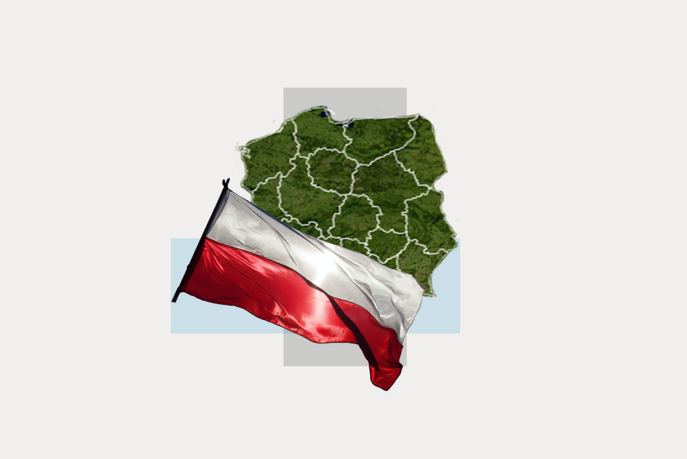 A stylized map of Poland