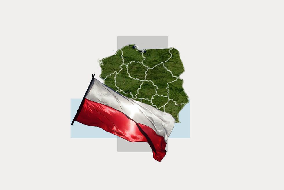 A stylized map of Poland