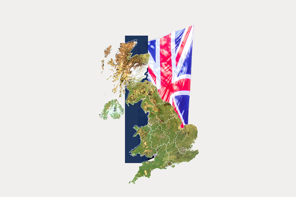 A stylized map of the United Kingdom