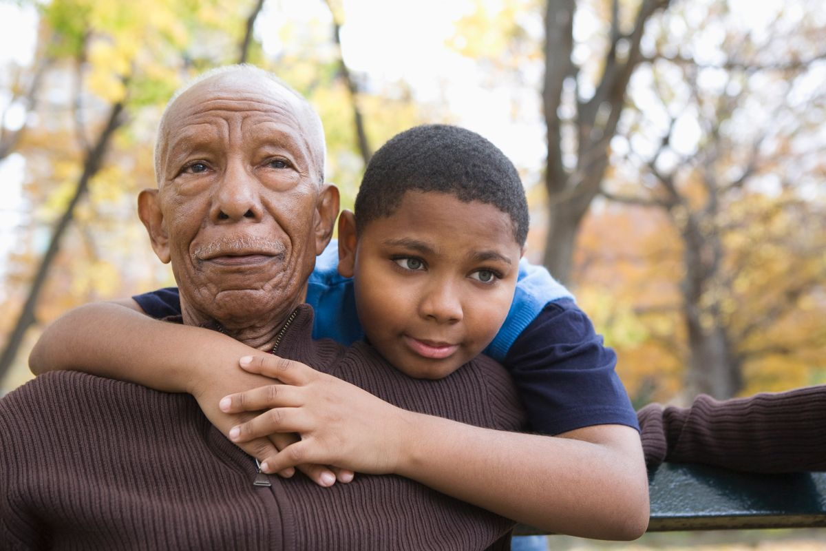 Black grandfather and grandson