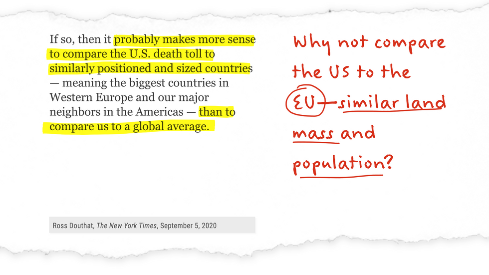 Excerpt from NYT op-ed annotated with: Why not compare the US to the EU - similar land mass and population?