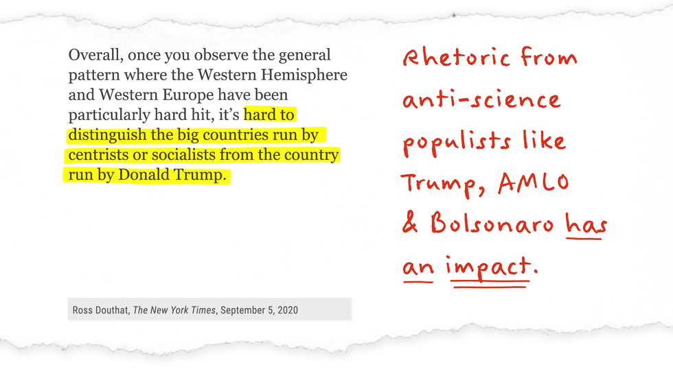 NYT op-ed excerpt with annotation: Rhetoric from anti-science populists like Trump, AMLO, & Bolsonaro has an impact.