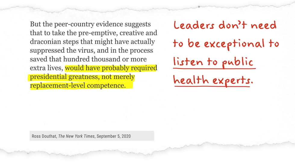 NYT op-ed excerpt with annotation: Leaders don't have to be exceptional to listen to public health experts.