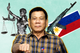 Image of Philippine President Rodrigo Duterte flanked by the national flag, a gun, and symbols of justice