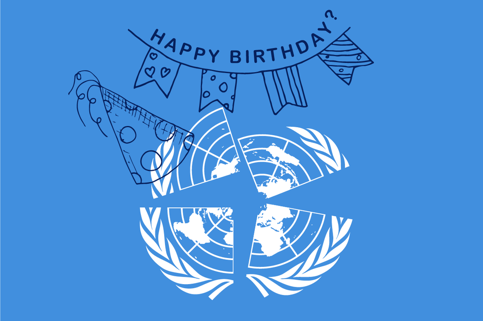 United Nations turns 75. Art by Ari Winkleman