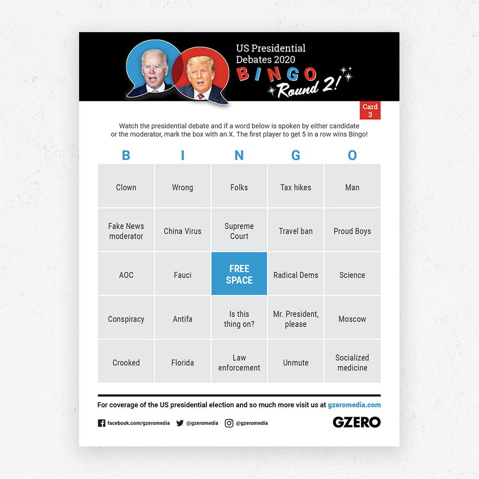 Debate Bingo Round 2 Card 3 - US Presidential Debate 2020
