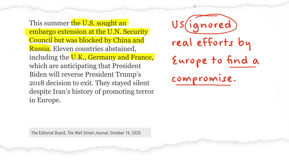 US ignored real efforts by Europe to find a compromise.