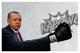 Turkey's President Erdogan wearing a boxing glove