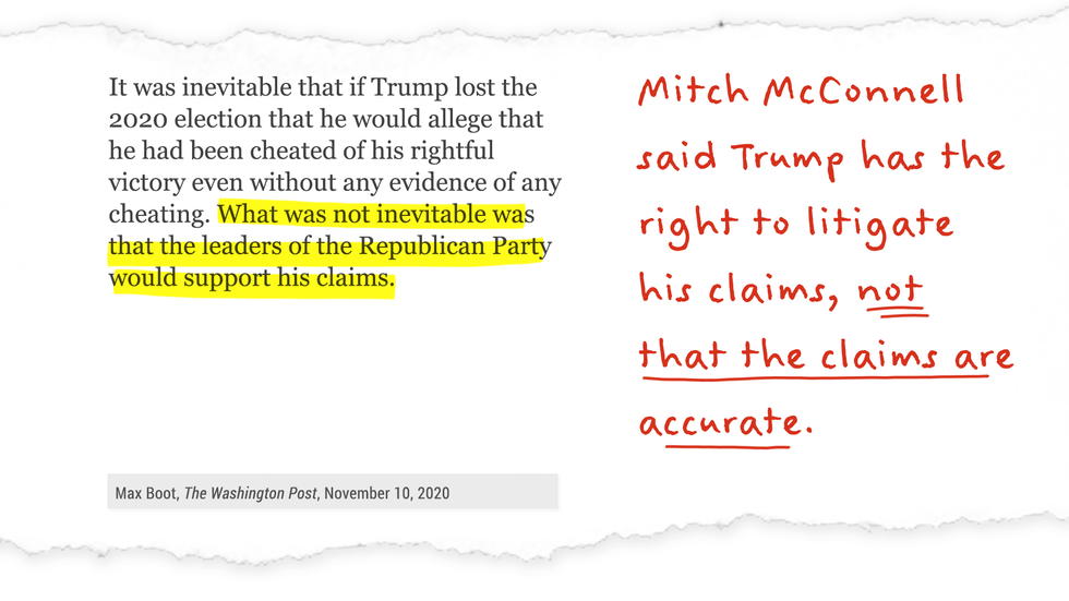 Mitch McConnell said Trump has the right to litigate his claims, not that the claims are accurate.